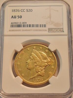 1876 CC $20 NGC AU 50 Carson City Gold Liberty Double Eagle, Scarce PQ Twenty