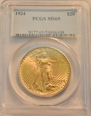 1924 $20 PCGS MS 65 Gold St. Gaudens Double Eagle, GEM Uncirculated Saint Twenty