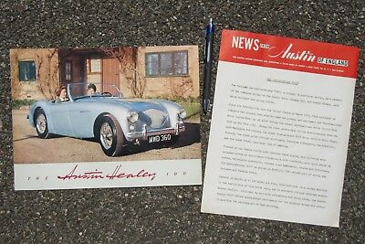Austin Healey 100 Hundred Vintage Advertising Brochure, Press Release Circa 1953
