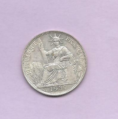 French Indo-China 1937 Silver 20 Cents  Good Luster