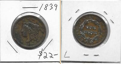 Low Grade Old Bronze Copper Coin Lot- Early US Coronet Head Large Cent 1839