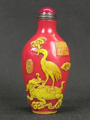 Chinese Crane Dragon Turtle Carved Peking Overlay Glass Snuff Bottle