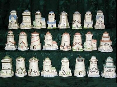 LENOX SEASIDE LIGHTHOUSE SPICE JARS set of 24 NEW in BOX with COA