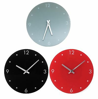 HOME Round Glass Wall Clock - Choice of Black / Grey / Red. From Argos on ebay