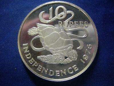 SEYCHELLES - 1976 Sterling silver 10 Rupees - Independence - lightly toned PROOF