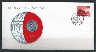 PRC - KEY date 1980 5 Fen in Franklin Mint COINS OF ALL NATIONS cover - BU