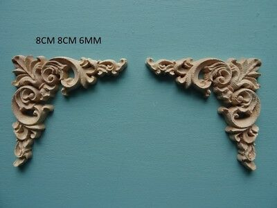 Decorative wooden scroll corners applique furniture mouldings onlay D211S