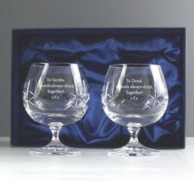 pair crystal Brandy glasses personalised in gift box for Retirement Wedding gift