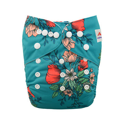 Alva Baby Girl Cloth Diapers One Size Reusable Pocket Nappy+1Insert Flowers