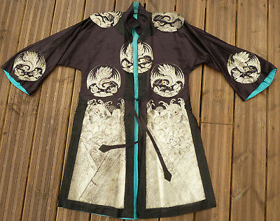 Antique Chinese Silk & Silver Embroidered Court Robe Kesi Surcoat Longgua Qing