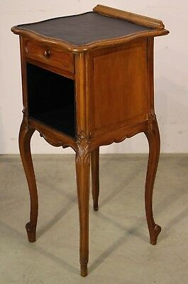 French antique Louis XV bedside table cabinet inlaid top carved walnut rococo