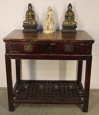 Antique Chinese elm Scholar's desk carved table brass handles oriental 1880's