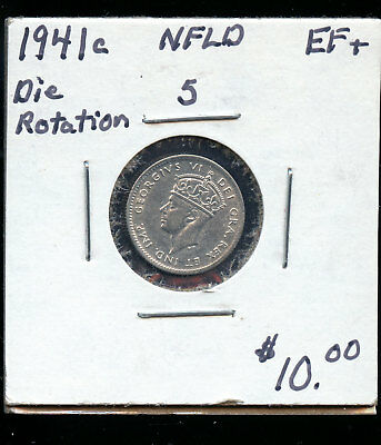 1941 Rotated Die Newfoundland silver 5 cents EF+ TB431