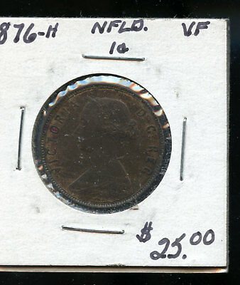 1876 Newfoundland Large Cent VF TB444