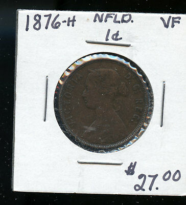 1876 Newfoundland Large Cent VF TB447