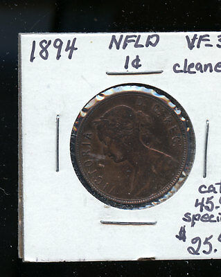 1894 Newfoundland Large Cent VF30 cleaned TB467