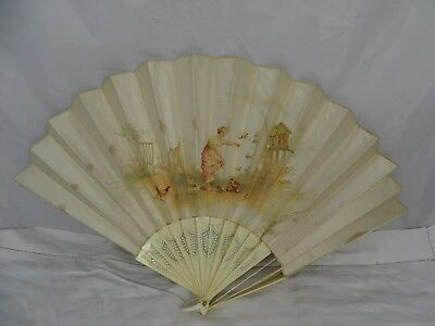 Antique French Silk Net Fan Hand Painted - Romantic Scene In Box - Damaged