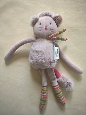 doudou peluche hochet grelot chat Les Pachats MOULIN ROTY marron chine gris NEUF