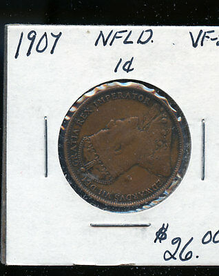 1907 Newfoundland Large Cent VF30 TB487