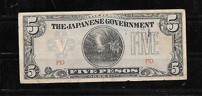 PHILIPPINES #107a 1942 5 PESO GOOD CIRCULATED DAMAGED OLD BANKNOTE PAPER MONEY