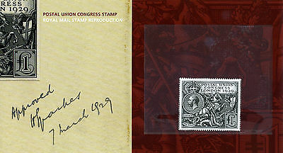 Gb 1929 £1 Postal Union Conference (Post Office Official Reprint) In Pres Pack