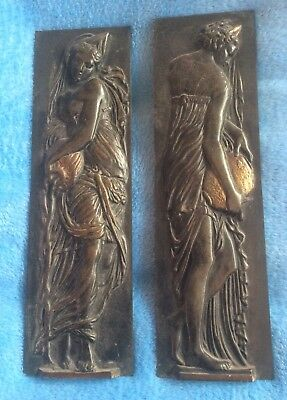 A pair of brass/bronze? late C19th figural door finger plates stamped L.G
