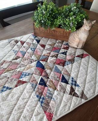 Gorgeous Display Antique c1870 Star Primitive Table, Doll or Crib Quilt 22x22