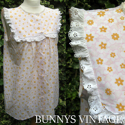 vtg 60s pink white broderie anglais lace cotton mini dress mod babydoll nightie