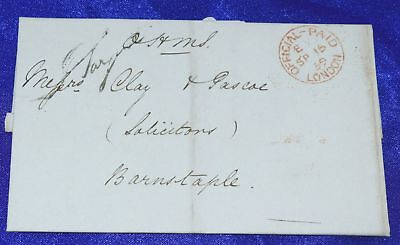 GB London 1859 Official Paid stampless cover to Barnstaple