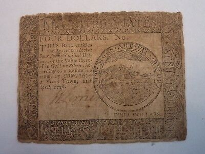 """Cc-71 April 11, 1778 $4 Four Dollars Continental Currency """"Yorktown"""" Rare"""