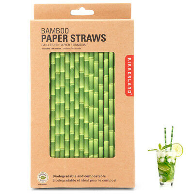 144 x Kikkerland Bamboo Design Paper Straws Biodegradable Retro Drinking Parties