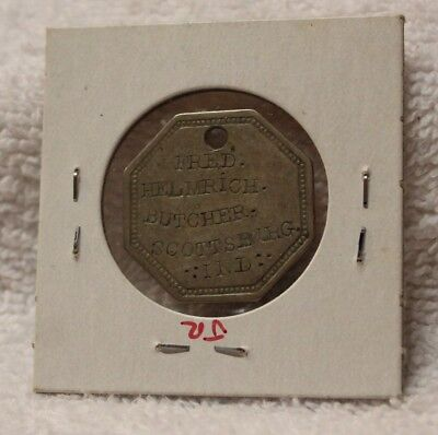 Rare Fred Helmrich Butcher Scottsburg Ind. Token Tag Commandary 656 Scott County