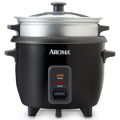 Aroma 6 Cup Cooked White Pot Style One Touch Rice Cooker and Food Steamer, Black