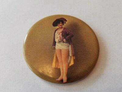 Vintage Risque Pin-Up Pocket Mirror Celluloid? 1920s Burlesque