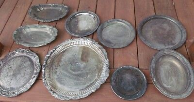 10 Silverplate Platters Serving Dishes Attic Find All Marked Sheridan Wallace ++