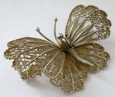 Antique Victorian Solid Silver Butterfly Insect Brooch Pin Pierced Indian Rare