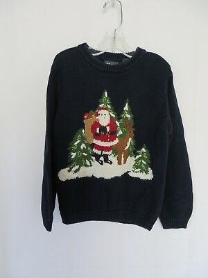 Frost Christmas Sweater Pull Over Navy Embroidered Santa Reindeer Boys 6 #7587