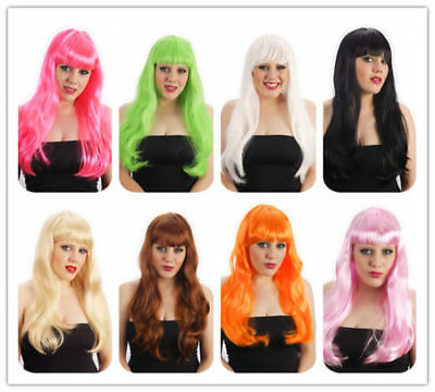 50 job lot black pink brown blonde red blue Glam Long wig with fringe Straight