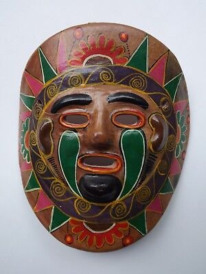 """Vintage Colorful Hand Painted Mexican Folk Art Mask Tribal Pottery 8.5"""" X 8"""""""
