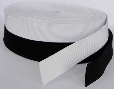 Quality 25 mm Wide Black or White Flat Woven Elastic Waistband Cuffs Dressmaking