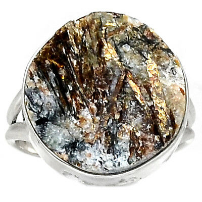 Russian Astrophyllite 925 Sterling Silver Ring Jewelry s.8 RR158490