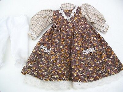 Alte Puppenkleidung Brown Flowery Dress Outfit vintage Doll clothes 40 cm Girl