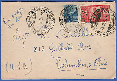 R449 -  ITALY 1950 100 L. Family / Scales Airmail cover PALERMO to USA