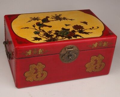 Chinese red leather jewelry box large flower bird bronze lock handle old