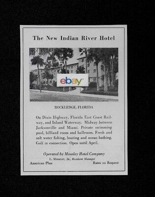 New Indian River Hotel Rockledge,florida 1935 Dixie Highway & Inland Waterway Ad