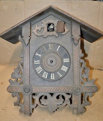 Antique Inlaid Cuckoo Clock Case and Movement for Parts