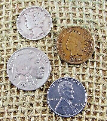 Mercury Silver Dime Buffalo Nickel Indian & Steel Cent Coin Lot + 4 Free WHEAT