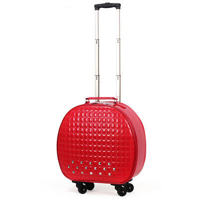 A840 Red European Style Round Shape Draw Bar Trolley Suitcase 20 Inches W