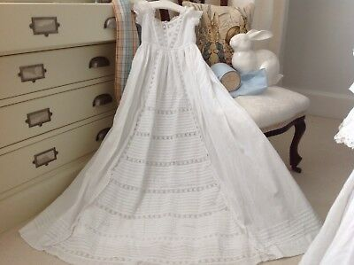 Antique C 1800s  Baby Christening Gown White Work Broderie Anglaise