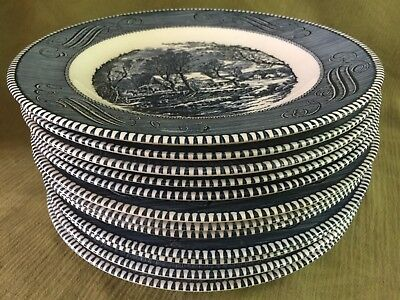 Currier and Ives BLUE Royal China DINNER PLATES (SET Of 12!) Excellent Cond.